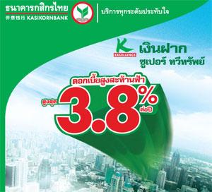 เงินฝากซูเปอร์ ทวีทรัพย์ กสิกรไทย ดอกเบี้ย 3.80%