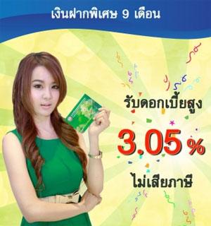 เงินฝากดอกเบี้ยสูง ธกส 3.05%
