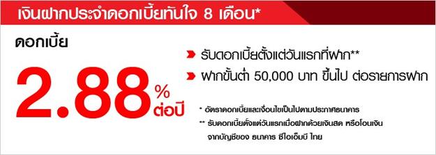 เงินฝากดอกเบี้ยทันใจ CIMB Thai