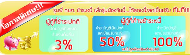 ชำระหนี้ กยส ลดหนี้ 3%