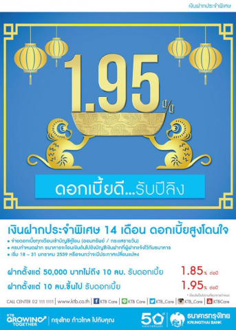 ฝากประจำกรุงไทย 1.95%